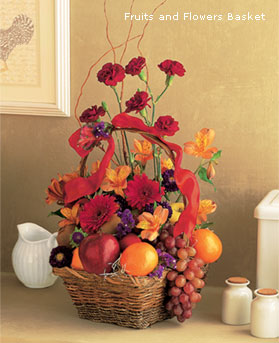 Fruit Gift Basket Sympathy Flower Arrangement