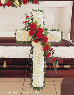 Funeral Flowers Hope and Honor Cross