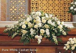 Pure White Casket Funeral Flowers